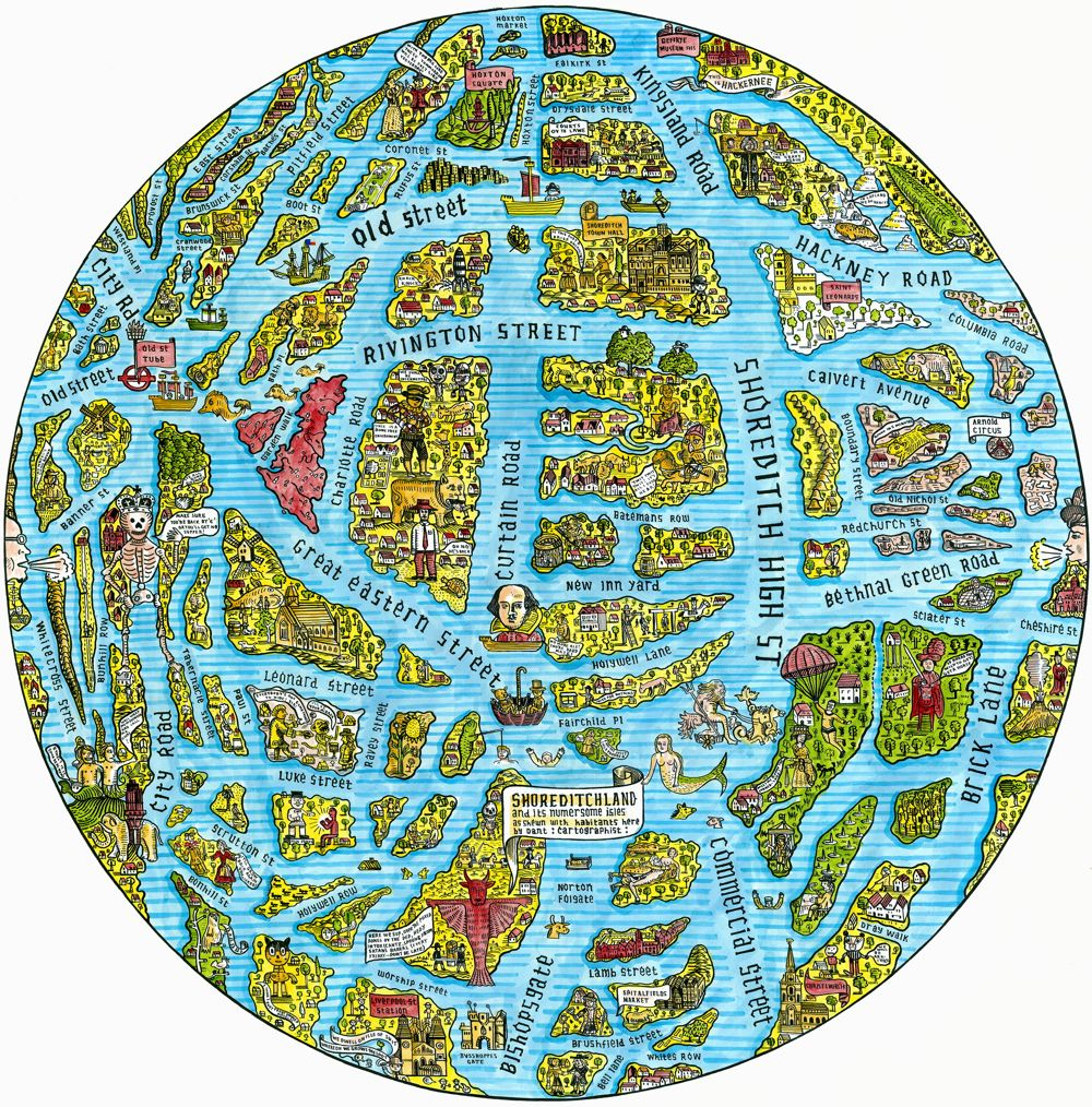 Adam Dants Map of Shoreditch as the Globe  Spitalfields Life