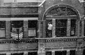 Window Cleaner  in the snow Clerkenwell Road 1960