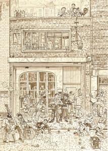Adam Dant, Redchurch Street 2, 2010, ink on paper, 84.5 x 64 cm
