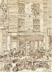 Adam Dant, Redchurch Street 3, 2010, ink on paper, 84.5 x 64 cm