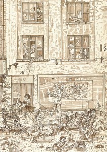 Adam Dant, Redchurch Street 5, 2010, ink on paper, 84.5 x 64 cm