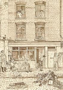 Adam Dant, Redchurch Street 7, 2010, ink on paper, 84.5 x 64 cm
