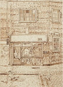 Adam Dant, Redchurch Street 8 (Framed), 2010, ink on paper, 84.5 x 64 cm