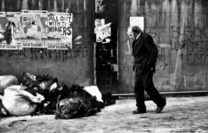 At the time of the miners strike freezing weather Brick Lane