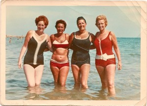 Irene Kingsley Phyliss Gee Stella Spanjar and Celina Martin at Riccione Beach c1970