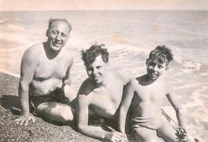 Ivan Kingsley on Hythe Beach with family