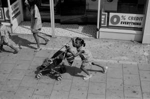 Girl with Pram Kingsland Road copy 1980's