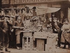 Solomon Mekelburg & market stall in Goulston Street c1920's