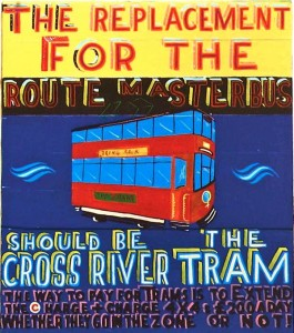 THE REPLACEMENT FOR THE ROUTEMASTER BUS signwriting enamel on found materials 2009
