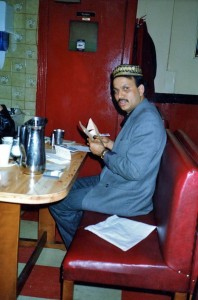 Mr Ali, Clive's landlord, at The Aladin, 6 Mar 1991
