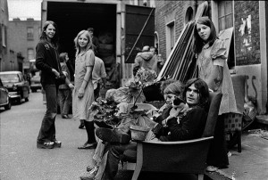 Eviction of squatters from private rented property that was being kept empty in Myrdle Strreet and Parfett Street, Whitechapel, London. 1973