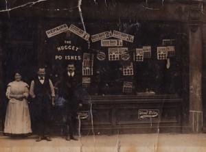 Morris' parents_boot_shop_(parents on the left) circa 1912