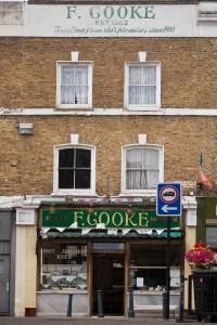 F Cooke's Pie and Mash shop in Broadway Market, Hackney, London