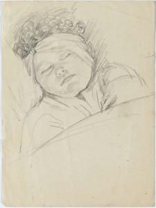 Sketch of Morris Goldstein's son, Raymond Francis as a boy circa 1953