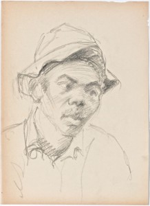 Sketch of local person in East London (circa 1920) 1
