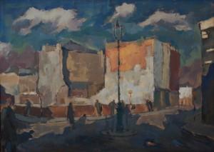 Bombsites around Paul Street, 1950, gouache on brown paper