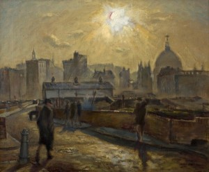 CYRIL MANN (1911-1980) St Paul's from Moor Lane c 1948 oil on canvas 51 x 61 cm