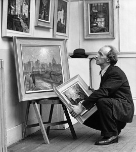 Cyril Mann preparing for his exhibition at Wildenstein Gallery London 1948