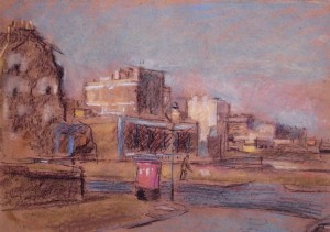 bombsites and red letter box charcoal and pastels c1950